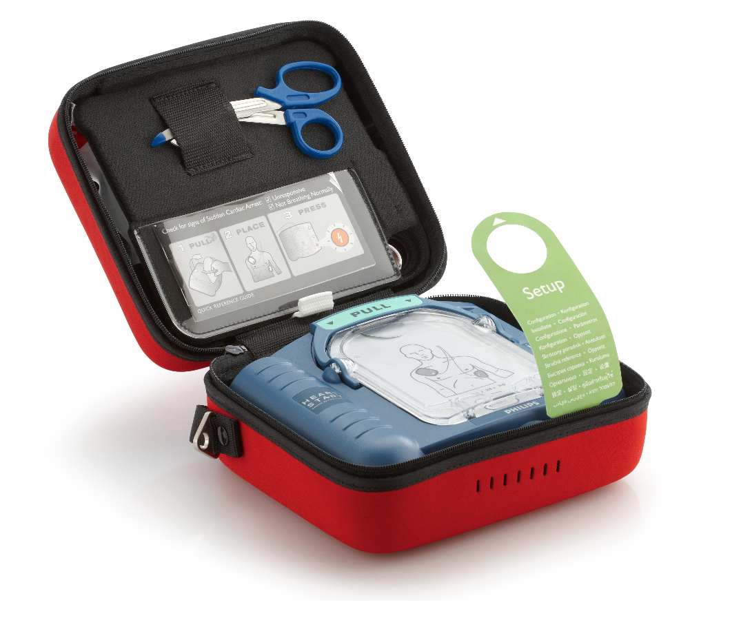 Philips Heartstart Onsite AED in carrying case